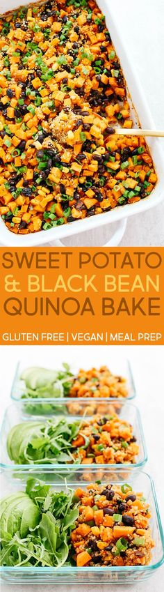 This Sweet Potato & Black Bean Quinoa Bake is healthy and delicious with all your favorite Mexican flavors easily baked together in a single casserole dish! Vegan Sweet Potato Recipes, Sweet Potato Casserole Vegan, Vegan Stuffed Sweet Potato, Black Bean Casserole, Sweat Potato Recipes, Vegan Black Bean Recipes, Vegan Baked Potato, Vegan Breakfast Casserole, Sweet Potato Quinoa Salad