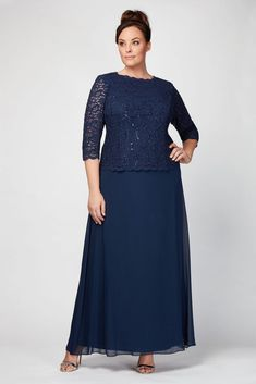 The look of two perfectly coordinated pieces with the ease of a dress, this long chiffon plus-size gown features a sequin lace bodice with illusion and a small V-back. By Alex Evenings Nylon, polyester, spandex Back zipper; Mother Of The Bride Plus Size, Mother Of The Bride Dresses Long, Mother Of Bride Outfits, Plus Size Long Dresses, Plus Size Gowns, Wedding Dresses Plus Size, Brides Mom Dress, Bride Groom Dress, Necklines For Dresses
