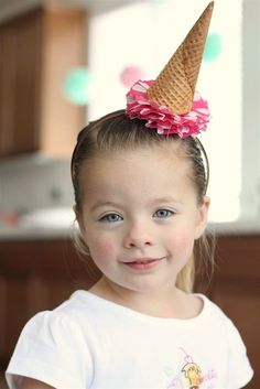 Ice cream birthday party... check out the fab party hat idea. I'm inspired!