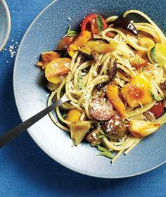 Roasted Summer Vegetable Pasta - maybe spin the grilled veggies with the fresh oregano & some parmie... toss w/pasta & olive oil.