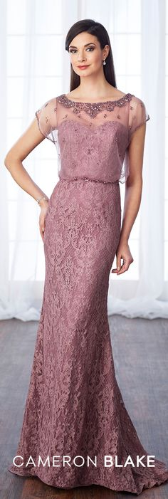 Formal Evening Gowns by Mon Cheri - Fall 2017 - Style No. 217652 - lace fit and flare evening dress with beaded illusion neckline and cap sleeves