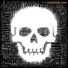 FREE Printable Halloween Skull Word Art