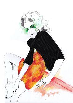 Chloe Cane, fashion illustration using collaged textiles