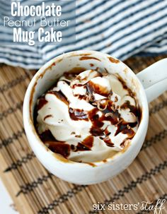Chocolate Peanut Butter Mug Cake | Six Sisters' Stuff