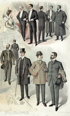 from a print published in August of 1899. These are things you'd see on a day-to-day basis, as well as more formal attire for guys attending the opera or a theater production.  Official caption: Print showing men posed wearing fall and winter business and theater fashions with overcoats and hats, against a backdrop of an interior view of the recently-opened Library of Congress Thomas Jefferson Building.  Dream of Time, Winter fashions for men: 1899-1900