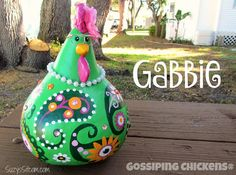 chickens gourd art gourd paisley painted by SuzysSitcomStore
