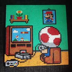 Toad plays Toad - Mario hama perler bead art by operledittemarie