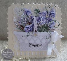 Hello everyone, Sharing my DT samples for Tattered Lace. Launching on Create and Craft noon Friday . Diy Retirement Cards, Lace Vase, Create And Craft Tv, 3d Cards, Easel Cards, Tattered Lace Cards, Shaped Cards, Fancy Fold Cards, Heartfelt Creations