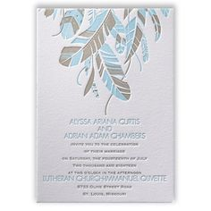 Falling Feathers Letterpress Invitation from Invitations by Dawn