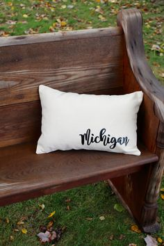 Michigan Pillow - Farmhouse style collection- Home Decor- Request any state! by reprizedesigns on Etsy