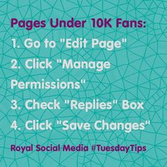 "#Facebook has officially rolled out their ""Replies"" feature! Does your page have under 10K Fans? Learn how to turn on this feature! #TuesdayTips #SocialMedia"