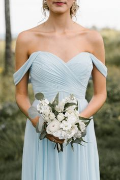 Light blue off shoulder bridesmaid dress