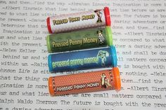 Pressed Penny Money Tubes:  pressed pennies are a fun and inexpensive souvenir. Site includes links to tube graphics, coin tips & link to location of machines and images at each machine.
