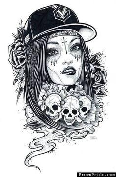 sugar skull pin up girl tattoo designs - Google Search