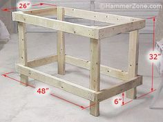Dimensions of sturdy 2x4 workbench.