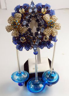 Stanley Hagler Blue Glass Bead and by VintageLaneJewelry on Etsy
