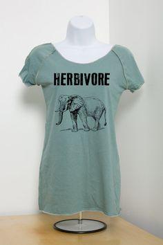 Herbivore Elephant Vegan Vegetarian 100 Organic by VeganeseTees, $29.99