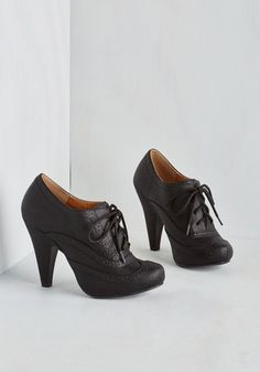 Flying First-Sass Heel in Black - High, Faux Leather, Black, Solid, Party, Work, Menswear Inspired, Vintage Inspired, 20s, Good, Lace Up, Variation