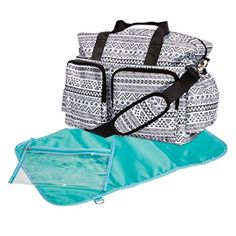 Shop for Trend Lab Black and White Aztec Deluxe Duffel Diaper Bag. Get free delivery On EVERYTHING* Overstock - Your Online Diapering & Potty Store! Get in rewards with Club O! Chic Diaper Bag, Black Diaper Bag, Best Diaper Bag, Diaper Bags, Black Chevron, Zipper Pouch, Baby Gifts, New Baby Products, Purses