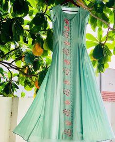Beautiful Silk-chiffon kurti with beautiful embroidery and pleats detailing. #Kurti #festivals