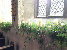 Windowsills Dressed With Cascading Foliage & Candles