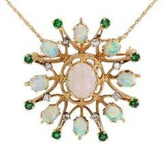 1960s Opal Emerald Diamond Gold Brooch Pendant #GoldBrooches