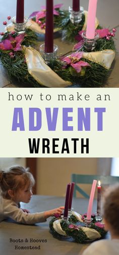 Simple Advent Wreath DIY The Season of Advent is just about here and I'm totally in prep mode around here. For our advent wreath, I made a very simple, but cute DIY. If I can learn how to make an advent wreath, anyone can. Catholic Advent Wreath, Advent Wreath Candles, Christmas Advent Wreath, Christmas Crafts, Advent Wreaths, Christmas Tables, Christmas Ideas, Reindeer Christmas, Christmas Decorations