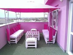 Pink pallet terrasse #Sofa, #Table, #Terrace