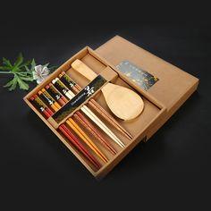 Natural Soid Wood Chopsticks Set Gift Box Environmental ProtectionTableware Sushi With Chopsticks 5 Pairs/set