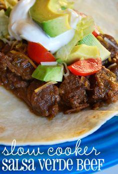 Slow Cooker Salsa Verde Beef | Queen Bee Coupons & Savings. Makes the 'best tacos'.