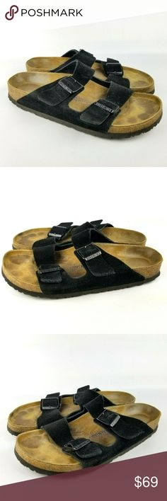 "41abe3494b51 Birkenstock Arizona Black Suede Leather Sandal 43 Birkenstock Arizona Black  Suede Leather Sandal Two Strap 43 EU 10 US Shoe Men's ""Overall good  condition."