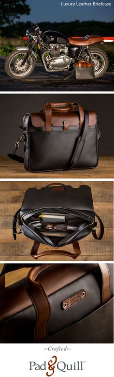 www.PadandQuill.com Introducing our luxury leather briefcase inspired by classic cafe racers, this is the bag that will take you from board room to boat house and back.