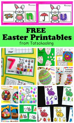 FREE Easter printables for toddlers, preschool and kindergarten. Large collection of activities including counting, numbers, alphabet, letter recognition, sight words, playdough mats, q-tip painting, tracing, coloring, matching, sorting, cutting and more, with fun Easter bunny and eggs!