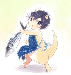 Makoto, do you want mackerel? ...  From mako_rakko ... Free! - Iwatobi Swim Club, haruka nanase, haru nanase, haru, nanase, haruka, river otter, free!, iwatobi