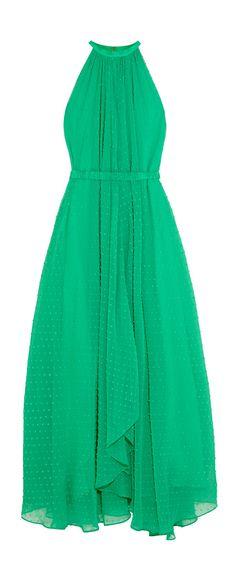 Swiss dot green halter dress