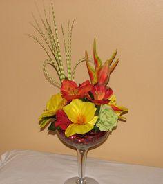 "Tropical Wedding Centerpieces   Tropical martini floral centerpiece"""