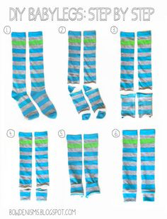 Step by Step: How to Make Babylegs {from socks}  #baby #diy
