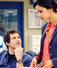 Andy Samberg and Melissa Fumero as Jake & Amy in Brooklyn Nine-Nine Brooklyn Nine Nine Funny, Brooklyn 9 9, Charles Boyle, Jake And Amy, Jake Peralta, Netflix, Andy Samberg, The Way He Looks, Tv Couples