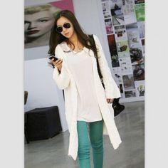 Vogue Twisted Plait Knitting Pocket Loose Cardigan White