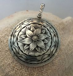 Sterling Silver Pendant Hand Engraved with Dogwood Blossom