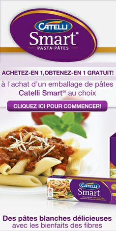Coupons pâtes Catelli 2 pour 1.  http://rienquedugratuit.ca/coupons/coupons-pour-pates-catelli/