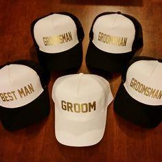 Groom and Groomsmen trucker hats.
