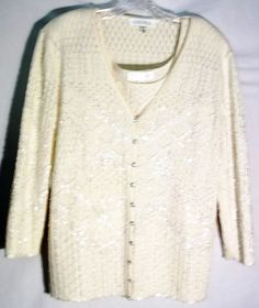 New ESCADA Cream Wool-Cashmere-Silk Twinset -Beads-Sequins -Cardigan-42 -Top -40 #ESCADA #Twinset #cardigan #top #sweater