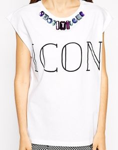 Enlarge ASOS T-Shirt with Icon Print and Embellished Neckline