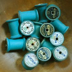 Vintage Green WOOD Sewing Thread SPOOLS from the by thelostrooms