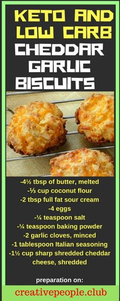 Low Carb Meals Delicious Keto and Low Carb Cheddar Garlic Biscuits - Savory keto cheat recipes that look and taste like they're stuffed with carbs. Clever keto-friendly ingredients make them even tastier than the originals. Desserts Keto, Keto Snacks, Dessert Recipes, Appetizer Recipes, Low Carb Appetizers, Baking Recipes, Appetizer Ideas, Supper Recipes, Snack Recipes
