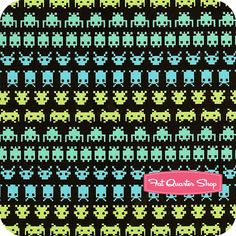 space invaders fabric