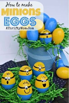 Dispicable me 2 eggs for easter -These can be decorations on the table or make a garland or in goodie bags :)