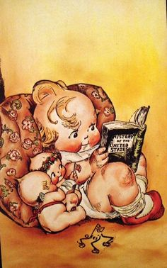 Vintage kewpie illustration,signed by Rose O'Neill.