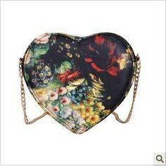2012 stylish design  vintage oil painting flower cross-body  shoulder heart women's handbag heart purse clutch bag